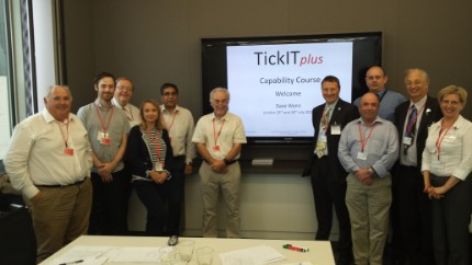 Picture of the delegates attending the first pilot TickITplus Capability Course at the CSC offices in London