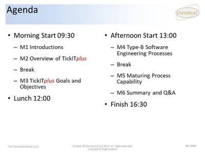 A picture showing the agenda for the TickITplus Workshop